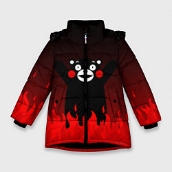 Детская зимняя куртка для девочки с принтом Kumamon: Hell Flame, цвет: 3D-черный, артикул: 10162548706065 — фото 1