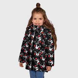 Детская зимняя куртка для девочки с принтом Kumamon Faces, цвет: 3D-черный, артикул: 10162796706065 — фото 2