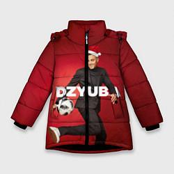 Куртка зимняя для девочки Новогодний Дзюба цвета 3D-черный — фото 1