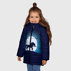 Куртка зимняя для девочки Лошадь под луной цвета 3D-черный — фото 2