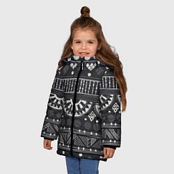 Куртка зимняя для девочки Этнический узор цвета 3D-черный — фото 2