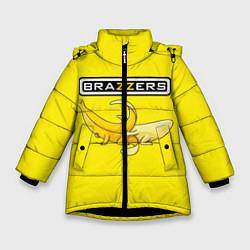 Детская зимняя куртка для девочки с принтом Brazzers: Yellow Banana, цвет: 3D-черный, артикул: 10167454506065 — фото 1