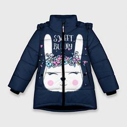 Детская зимняя куртка для девочки с принтом Sweet Bunny, цвет: 3D-черный, артикул: 10171329506065 — фото 1