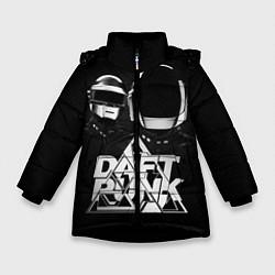Детская зимняя куртка для девочки с принтом Daft Punk: Space Rangers, цвет: 3D-черный, артикул: 10171345306065 — фото 1