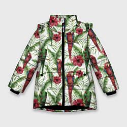 Куртка зимняя для девочки Попугаи Ара цвета 3D-черный — фото 1