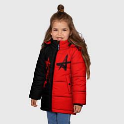 Куртка зимняя для девочки АлисА цвета 3D-черный — фото 2