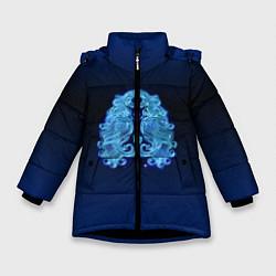 Куртка зимняя для девочки Знаки Зодиака Дева цвета 3D-черный — фото 1