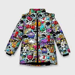 Куртка зимняя для девочки Stickerboom цвета 3D-черный — фото 1