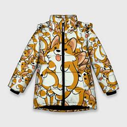 Куртка зимняя для девочки Корги цвета 3D-черный — фото 1