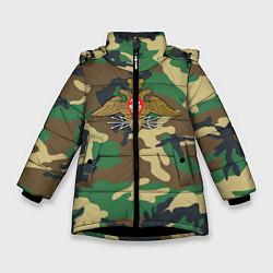 Куртка зимняя для девочки Камуфляж Войска связи цвета 3D-черный — фото 1
