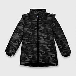 Куртка зимняя для девочки ГОРОДСКОЙ КАМУФЛЯЖ цвета 3D-черный — фото 1
