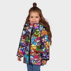 Куртка зимняя для девочки BRAWL STATS ВСЕ ПЕРСОНАЖИ цвета 3D-черный — фото 2