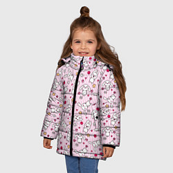 Детская зимняя куртка для девочки с принтом Зайчики, цвет: 3D-черный, артикул: 10213994306065 — фото 2