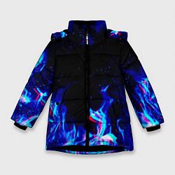 Куртка зимняя для девочки СИНИЙ ОГОНЬ ГЛИТЧ цвета 3D-черный — фото 1
