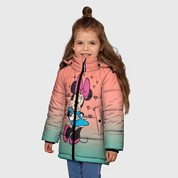 Детская зимняя куртка для девочки с принтом Минни Маус, цвет: 3D-черный, артикул: 10250094106065 — фото 2