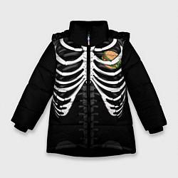 Куртка зимняя для девочки Бургер в груди цвета 3D-черный — фото 1