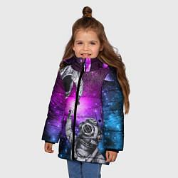 Куртка зимняя для девочки Космонавт и водолаз цвета 3D-черный — фото 2