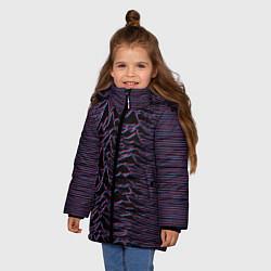 Детская зимняя куртка для девочки с принтом Joy Division Glitch, цвет: 3D-черный, артикул: 10265920906065 — фото 2