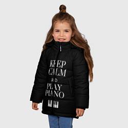 Куртка зимняя для девочки Keep calm and play piano цвета 3D-черный — фото 2