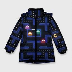 Детская зимняя куртка для девочки с принтом Pacman, цвет: 3D-черный, артикул: 10268708306065 — фото 1