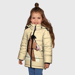 Куртка зимняя для девочки Конь БоДжек цвета 3D-черный — фото 2