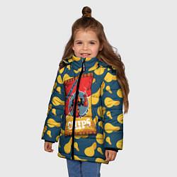 Детская зимняя куртка для девочки с принтом Deadpool чипсы, цвет: 3D-черный, артикул: 10275016306065 — фото 2