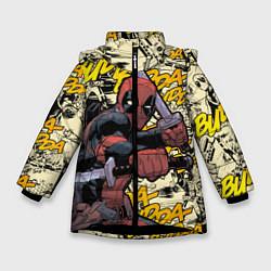 Детская зимняя куртка для девочки с принтом Deadpool, цвет: 3D-черный, артикул: 10275016706065 — фото 1