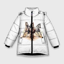 Куртка зимняя для девочки Лошади цвета 3D-черный — фото 1