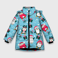 Куртка зимняя для девочки Новогодние Пингвины цвета 3D-черный — фото 1