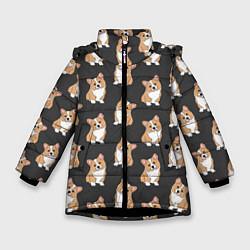 Куртка зимняя для девочки Корги малыши цвета 3D-черный — фото 1