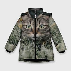 Куртка зимняя для девочки Кошка цвета 3D-черный — фото 1