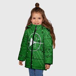 Детская зимняя куртка для девочки с принтом Печатная плата и диод, цвет: 3D-черный, артикул: 10279647306065 — фото 2