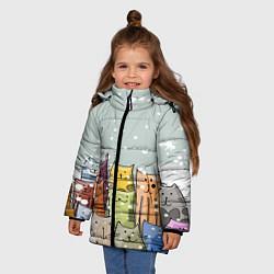 Куртка зимняя для девочки Котики цвета 3D-черный — фото 2