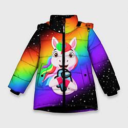 Куртка зимняя для девочки AMONG US - С ЕДИНОРОГОМ цвета 3D-черный — фото 1