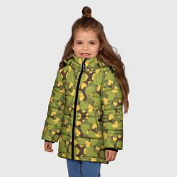 Куртка зимняя для девочки Сердечки камуфляж цвета 3D-черный — фото 2