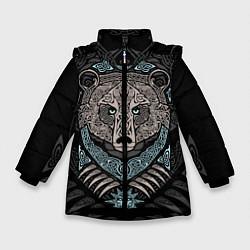 Куртка зимняя для девочки Медведь цвета 3D-черный — фото 1