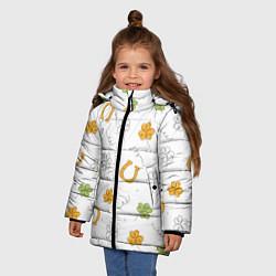 Куртка зимняя для девочки Клевер на День святого Патрика цвета 3D-черный — фото 2