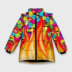 Куртка зимняя для девочки SLAVA MARLOW - Смайлики цвета 3D-черный — фото 1