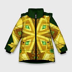 Куртка зимняя для девочки Золотой клевер цвета 3D-черный — фото 1