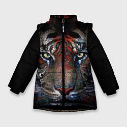 Куртка зимняя для девочки Цветной тигр цвета 3D-черный — фото 1