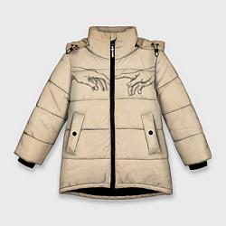 Куртка зимняя для девочки Сотворение Адама Гранж цвета 3D-черный — фото 1