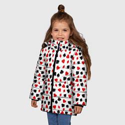 Куртка зимняя для девочки Карточные Масти цвета 3D-черный — фото 2