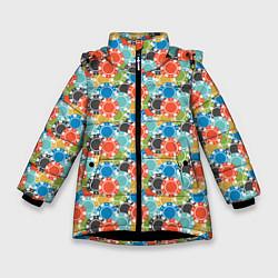 Куртка зимняя для девочки Фишки цвета 3D-черный — фото 1
