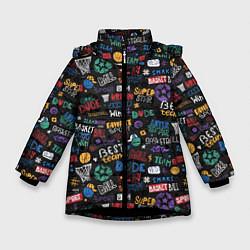 Куртка зимняя для девочки Баскетбол цвета 3D-черный — фото 1