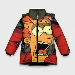 Детская зимняя куртка для девочки с принтом Frai Horrified, цвет: 3D-черный, артикул: 10064261906065 — фото 1