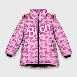 Детская зимняя куртка для девочки с принтом Bitch Barbie, цвет: 3D-черный, артикул: 10064282606065 — фото 1
