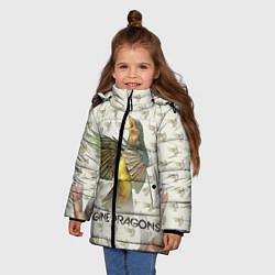 Детская зимняя куртка для девочки с принтом Imagine Dragons: Fly, цвет: 3D-черный, артикул: 10064383406065 — фото 2