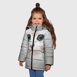 Куртка зимняя для девочки Белый котик цвета 3D-черный — фото 2