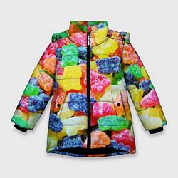 Куртка зимняя для девочки Мармеладные мишки цвета 3D-черный — фото 1