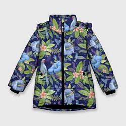 Куртка зимняя для девочки Голубые попугаи цвета 3D-черный — фото 1